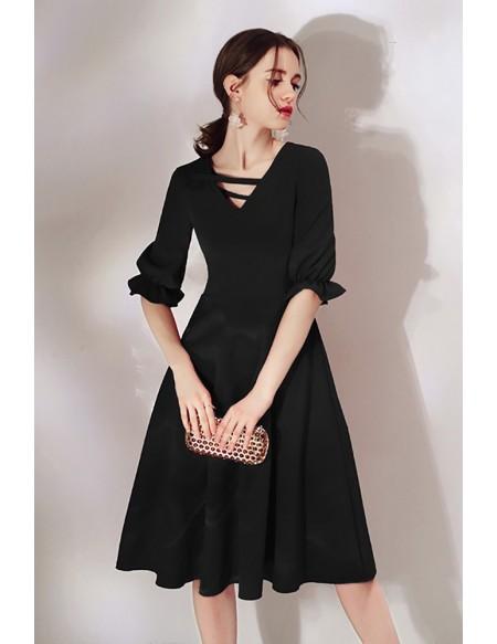 Simple Black Knee Length Dress With Half Sleeves #HTX97045 .