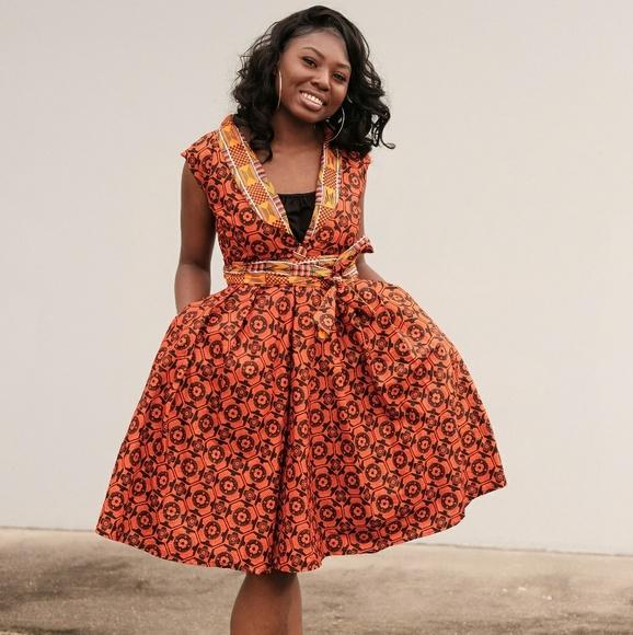 veroex Dresses | African Ankara Knee Length Dress | Poshma