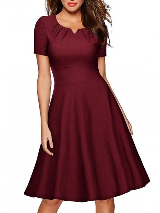 Elegant Burgundy A-line Knee-Length Swing Solid Empire Dresses .