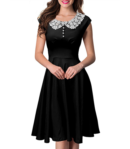 Fit and Flare Dress - Lace Collar / Knee Length / Decorative Butto