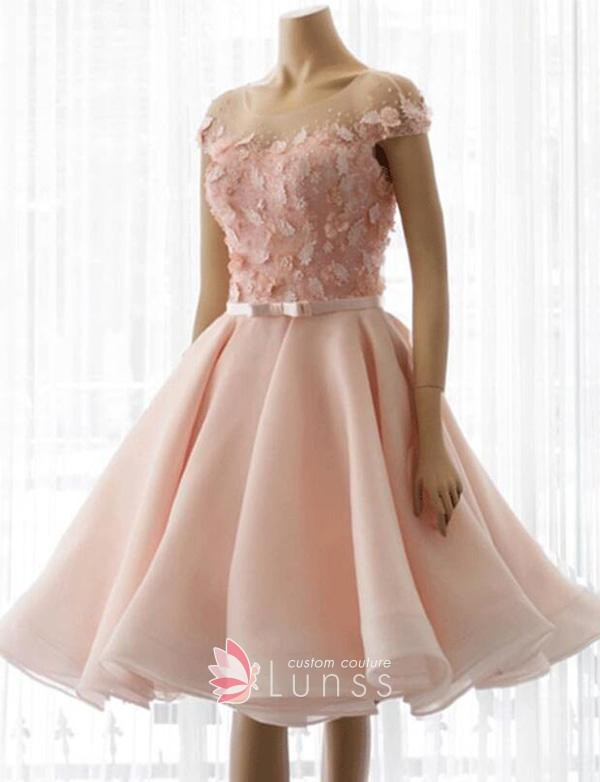 Illusion Cap Sleeve Pink A-line Graduation Dress - Lun