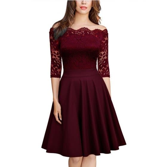 Shop Women Knee Length Lace Vintage Solid Color Cotton Formal .