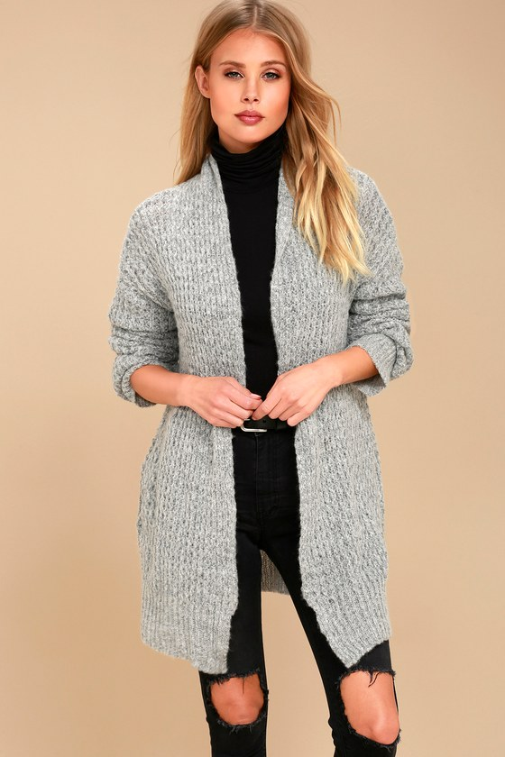Chic Grey Knit Sweater - Knit Cardigan - Grey Sweat