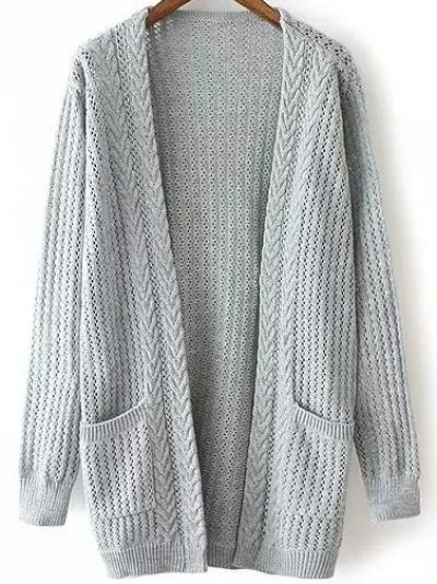 Open-Knit Pockets Grey Cardig