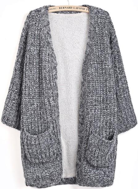 cardigan, extra long, grey sweater, chunky knit cardigan - Wheretog
