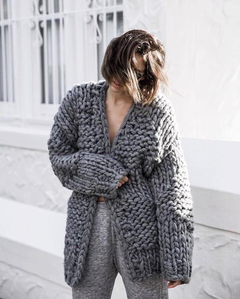 cardigan, chunky knit, tumblr, grey cardigan, knitwear, knitted .