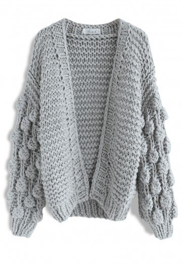 Cuteness on Sleeves Chunky Cardigan in Grey - Retro, Indie and .