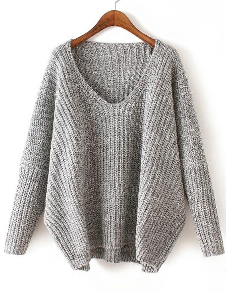V Neck Chunky Knit Pale Grey Dolman Sweater #Chic162668_S | WithCh