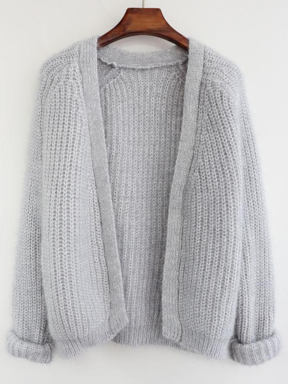 Loose Knit Grey Cardigan -SheIn(Sheinsid