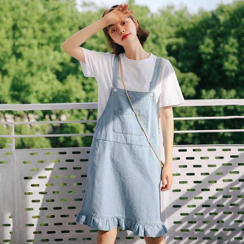 Summer Dress 2019 Korean Style Women Casual Pocket Ruffle .