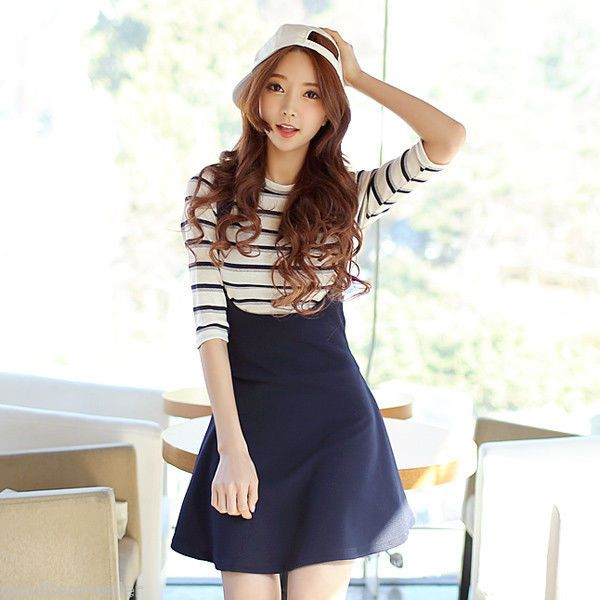 Korean Fashion Women's Dress Cute Navy Suspender Dress - Kpop .