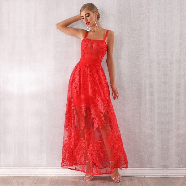 Women Bandage Red Lace Maxi Celebrity Party Dress - Power Day Sa