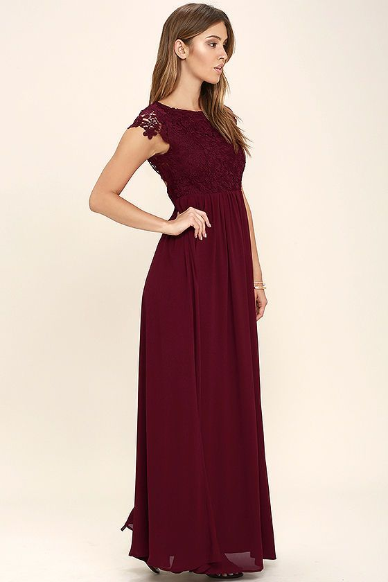 The Greatest Burgundy Lace Maxi Dress in 2020 | Burgundy .