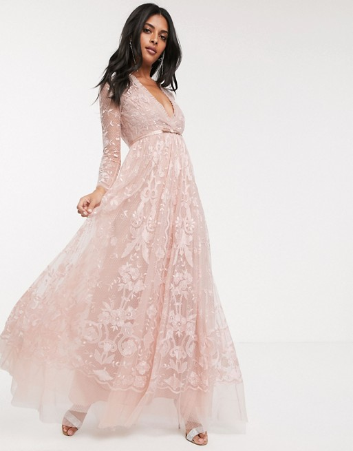 Needle & Thread embroidered floral lace maxi dress in dusty pink .