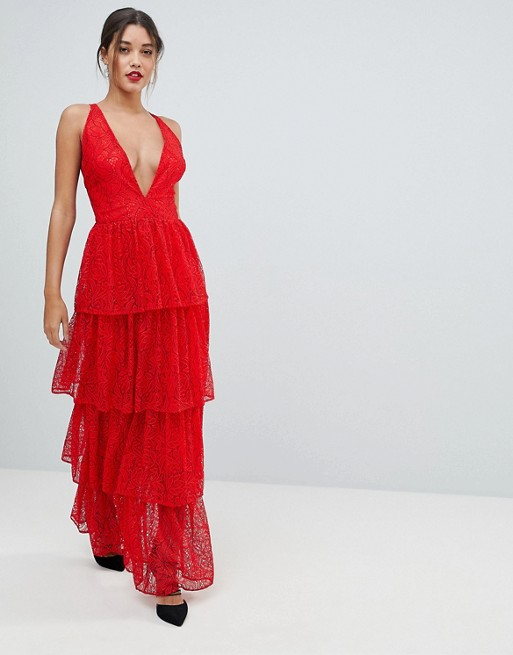 Missguided Tiered Lace Maxi Dress | AS