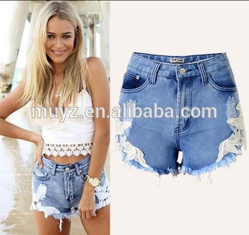L0229a Summer Ripped Denim Lace Shorts Women Fashion Jeans Shorts .