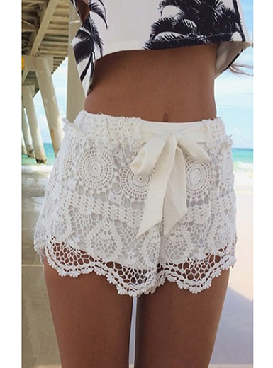 Womens Lace Shorts - White Large Lace Bow Shor