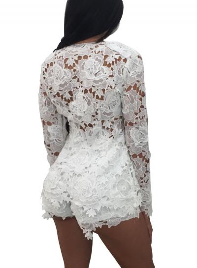 Women's Floral Lace Long Sleeve Blouse Shorts Set - STYLESIMO.c