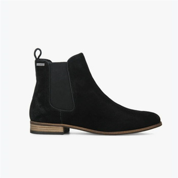 2019 Botas Black Ladies Ankle Boots Flat Suede Leather Women .