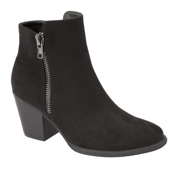 Finesse Ladies Ankle Boot With Decorative Zip: Black - Hudson Equi