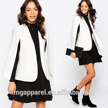 Fashion ladies blazers woven fabric open front cape women blaz