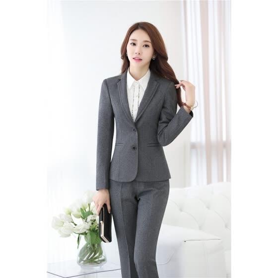 Shop Novelty Gray Long Sleeve Professional Fashion Slim Jackets .
