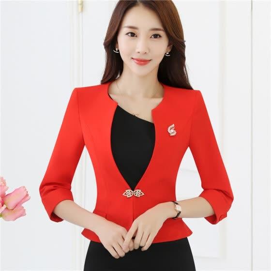 Shop Ladies Blazers 3/4 sleeve Ruffle Hem White Red Formal Jacket .