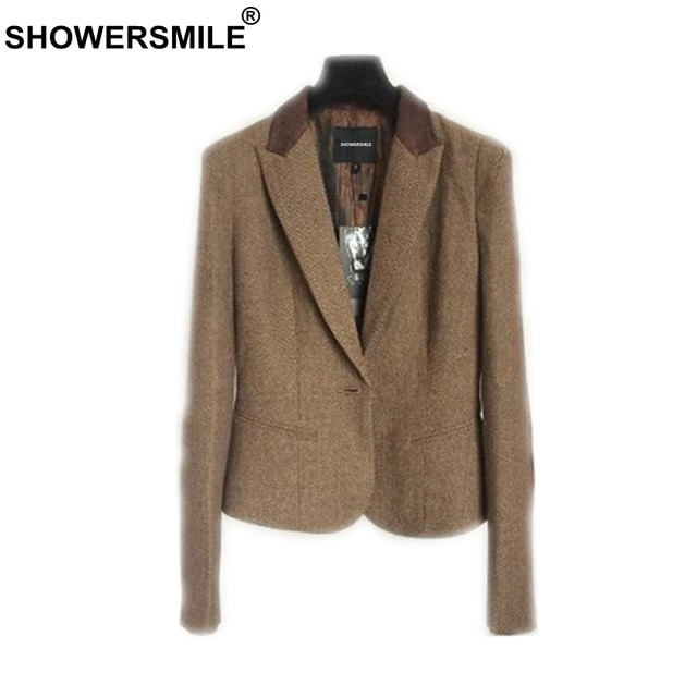 SHOWERSMILE Ladies Blazers British Style Womens Tweed Jacket .