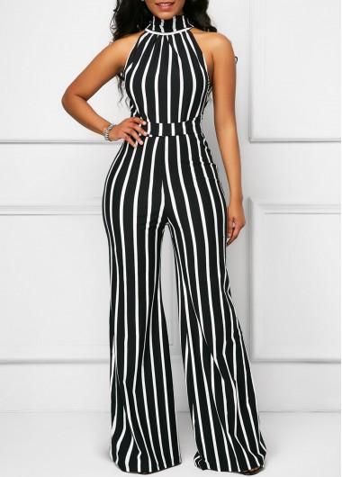 Sleeveless Cutout Belted Striped Black Jumpsuit | Black sleeveless .