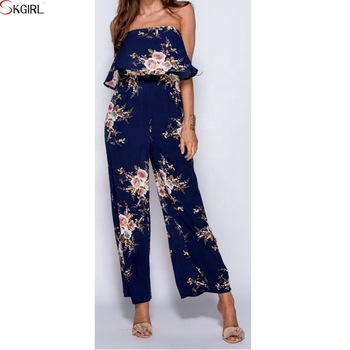 Strapless Chiffon Floral Print Wide Leg Off The Shoulder Ruffle .