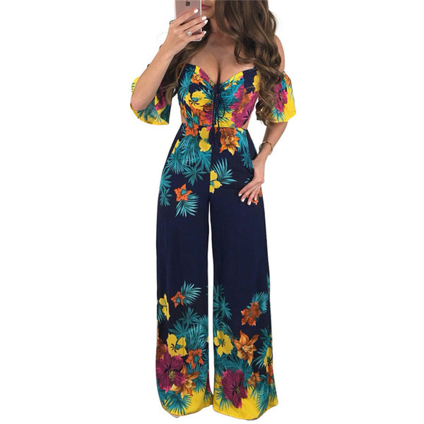 2020 Women Off Shoulder Jumpsuits Sexy Floral Printing Playsuit .