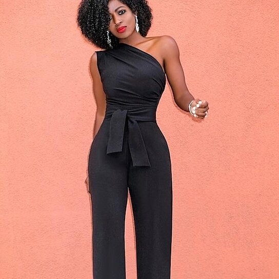 Buy STYLEDOME One Shoulder Ladies Jumpsuits Romper Lace Up Bodies .