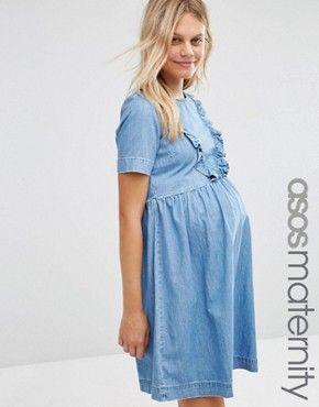 ASOS Maternity Denim Smock Dress With Ruffle Hem | Maternity denim .