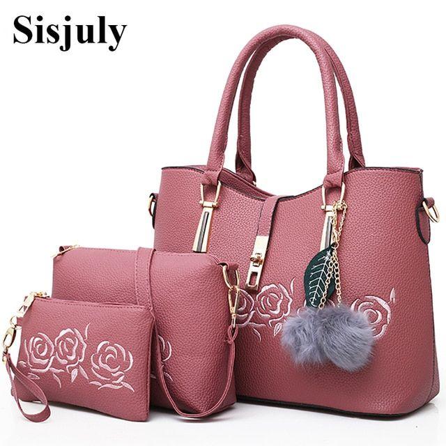 Sisjuly 3pcs Leather Bags Handbags Women Famous Brand Shoulder Bag .
