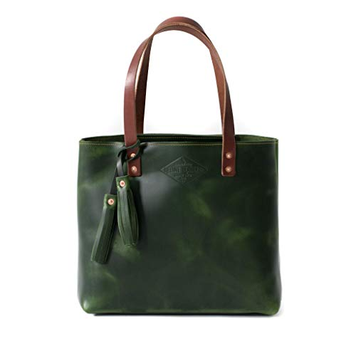 Amazon.com: Green Leather Tote Bag for Women, Green Leather Bag .