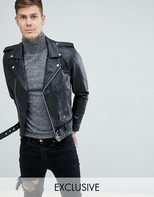 Reclaimed Vintage inspired leather biker jacket in black | AS