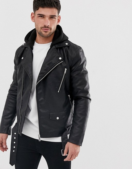 River Island faux leather biker jacket with hood in black | AS