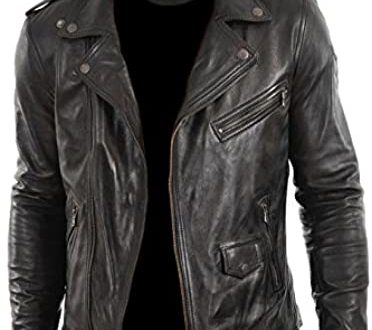Faam Collection Stylo Lambskin Leather Biker Jacket for Men at .