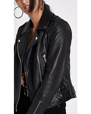 Savings on River Island Womens Black leather biker jack