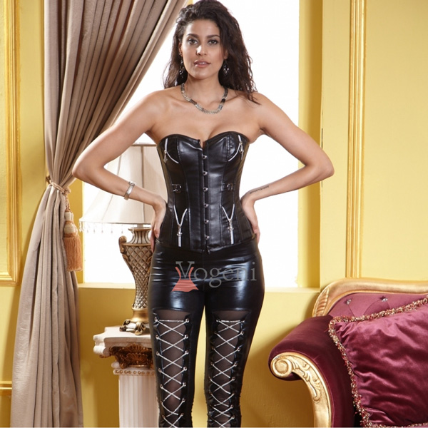 Wholesale Leather Corset With Zippers & Buckles BC1856,Corsets .