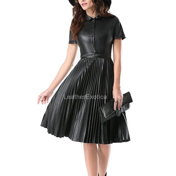 Accordion Pleats Leather Dress For Women – Leatherexoti