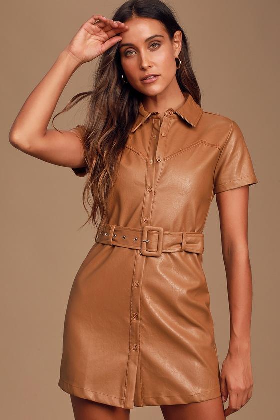 Cute Vegan Leather Dress - Tan Shirt Dress - Tan Leather Dre