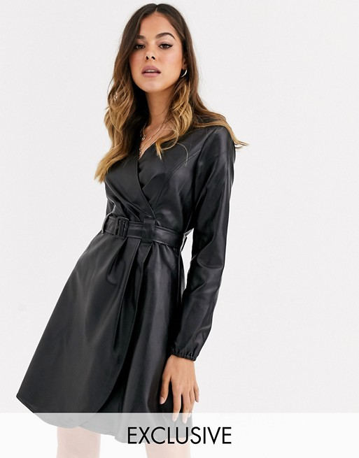 Wednesday's Girl belted wrap dress in faux leather | AS