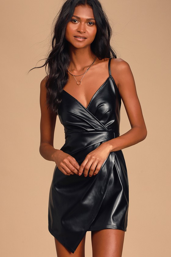 Sexy Black Mini Dress - Vegan Leather Dress - Faux Leather Dre