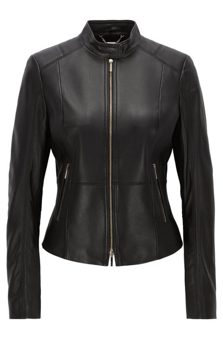 Hugo Boss Black Lambskin Leather Jacket : Hugo Boss Online Store .