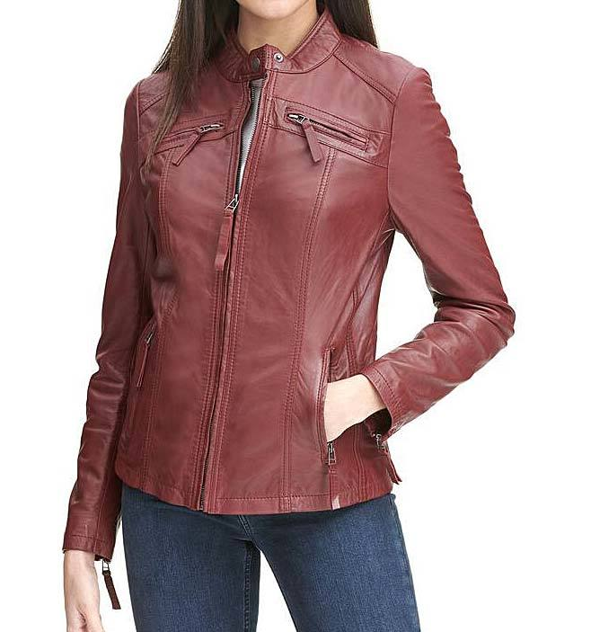 Red Casual Leather Motorcycle Jacket For Wom