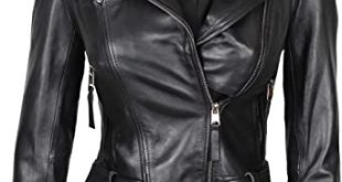 Decrum Womens Lambskin Leather Jacket - Asymmetrical Real Leather .