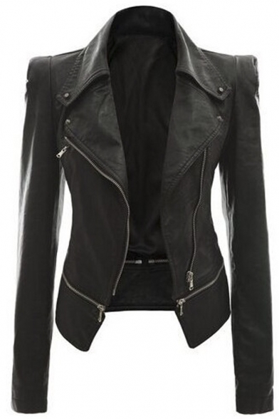 Women's Faux Leather Motorcycle Power Shoulder Jacket .