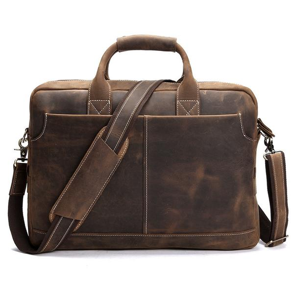 Distressed Leather Briefcase, Leather Laptop Bag .