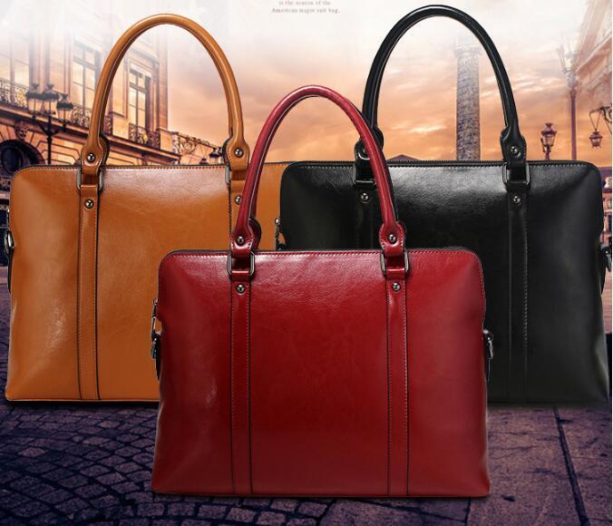 14 Laptop Bag 100% Genuine Real Leather Fashion Women Handbag .